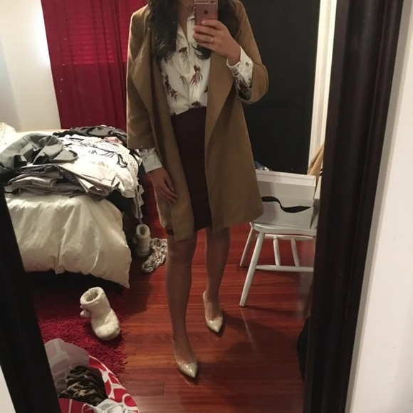 Jackets & Blazers - Oversized quarter sleeve camel coat